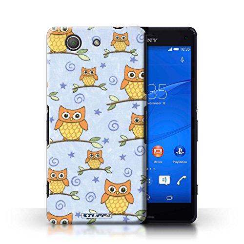 Kobalt® Imprimé Etui / Coque pour Sony Xperia Z3 Compact / Orange/Bleu conception / Série Motif Hibou Orange/Bleu
