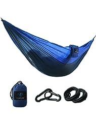 Hamaca para Camping - TOPQSC Hamacas para Camping Ultra ligera Portátil de Nylón Compacto Perfecto para Playa, Traspatio, Caminata y Dormir en el Interior o al Aire Libre(azul)