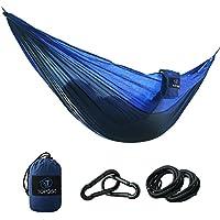 TOPQSC Hamaca para Camping Hamaca para Camping Ultra Ligera Portátil de Nylón Compacto Playa, Traspatio, Caminata y Dormir en el Interior o al Aire Libre(Azul)