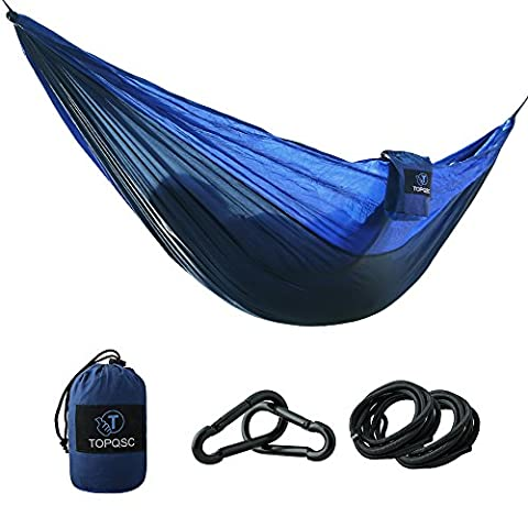 Camping Hammocks - TOPQSC Camping Hammocks Ultra-light Portable Compact Nylon Hammock Perfect for Outdoor, Beach, Backyard, Hiking and Indoor Sleeping (Blue) - Blue Ridge Turchese