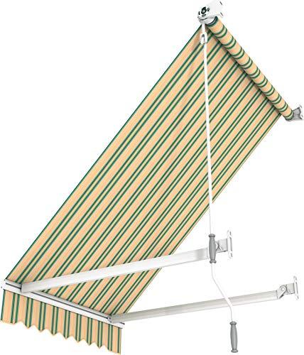 Broxsun Balkon- und Fenstermarkise Idaho | Breite 1m bis 5m | 120 Stoffe Farben | Auslage bis 1.8m. manuell oder elektrisch | wetterfeste Fallarmmarkise mit Motor Sonnenschutz breit