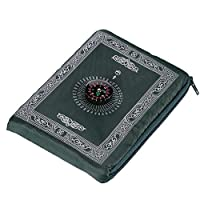 ‏‪Muslim Prayer Rug Polyester Portable Braided Mats Simply Print with Compass In Pouch Travel Home Mat Blanket 100 * 60cm (green)‬‏