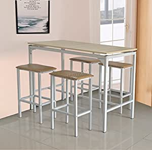 Foxhunter pub bar breakfast dining table with 4 stools chairs set kitchen room home furniture Home bar furniture amazon