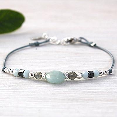 bracelet cordon amazonite facettée et perles argent 925