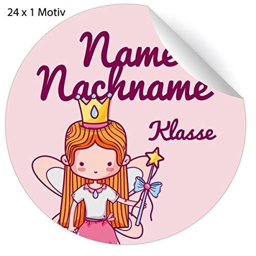 24 rosa Custom Prinzessinen Namens Aufkleber mit Zauberfee und ihrem Adress Text, universal Etiketten für Kindergarten, Schulbücher, Hefte (4,5cm)