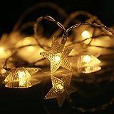 LED-Lichterkette, eSky24 LED-Lichterkette mit Sternen Batteriebetrieb 8 Modi mit Fernbedienung, 40 LEDs 5m Warmweiß, Beleuchtung für Weihnachten, Heim-Dekoration, Party, Hochzeit, Geburtstag usw.