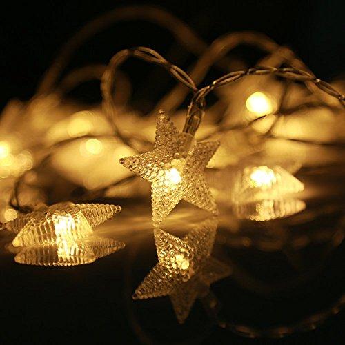(LED-Lichterkette, eSky24 LED-Lichterkette mit Sternen Batteriebetrieb 8 Modi mit Fernbedienung, 40 LEDs 5m Warmweiß, Beleuchtung für Weihnachten, Heim-Dekoration, Party, Hochzeit, Geburtstag usw.)