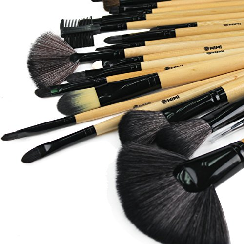 WIMI Professional 24 Pcs Natural Wooden Makeup Brush Set with Premium Black Travel Pouch Bag