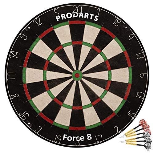 ProDarts Dartscheibe Force 8 - Aus hochwertigen A-Klasse Sisal Bristles - Extra dünne Drahtränder - 451 x 38 mm - Gratis-Geschenk: Darts + Regelheft + Montagesatz -