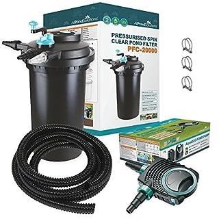 All Pond Solutions EURO-PFC-20000-KIT 20000L Druckfilter + 18w UVC Sterilisator + 8000L/H Teichpumpe +10 Meter Teichschlauch Teichfilter Teich Filter.
