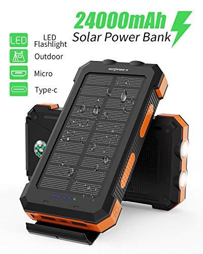 X-DRAGON Solar Power Bank 24000mAh Caricabatterie Solare Portatile Impermeabile con Doppio Ingresso (USB C e Micro) per iPhone, Huawei, Samsung, Telefoni Cellulari, Esterno, Campeggio