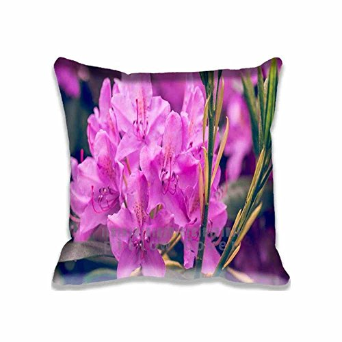 """Purple Rhododendron Flower Bedding Zippered Pillow Protector Case - Protection From Dust Mites - Allergy 18""""x 18""""(2 Sides)"""