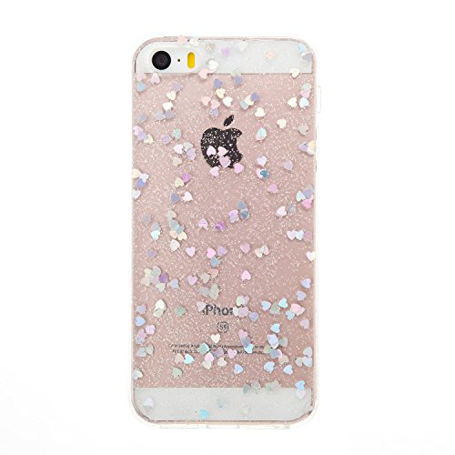 iPhone 5S/SE Miroir Cover Case,iPhone 5S/SE Case Glitter,Hpory Beau élégant Luxury Ultra Thin Soft TPU Gel Silicone Cristal Clair Bling Brillant Miroir Placage Ours Bling Glitter Ring Stand Holder Etu Loveheart,Argent