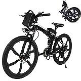 Bunao Elektrofahrräder 36V 12.8A Lithium Batterie Faltrad MTB Mountainbike E-Bike 17 * 26 Zoll Shimano 21 Speed Fahrrad Intelligence Elektrofahrrad (Schwarz)