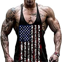 Faith Wings Hombre Fitness Gym muscular absorbente Chaleco Bodybuilding Bandera de Estados Unidos Stringer Tank Top sólida Sport Vest (L, Negro)