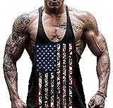Faith Wings Hombre Fitness Gym muscular absorbente Chaleco Bodybuilding Bandera de Estados Unidos Stringer Tank Top sólida Sport Vest (M, Negro)