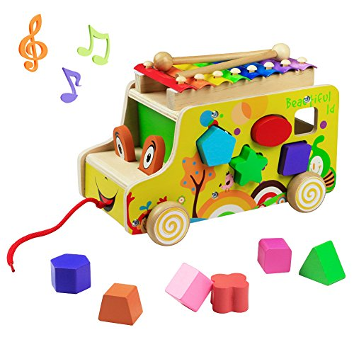 Xilofono legno bambini gioco di legno strumento giocattoli musicali auto camion giocattolo forme in legno per bambini 3+