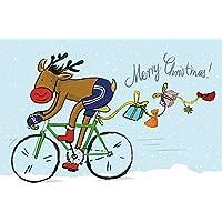 """Weihnachtskarte""""Rentier auf Rennrad"""""""