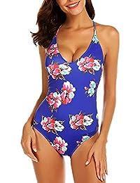 Modfine Bañador Mujer Una Pieza Impreso Floral Deportivo Bikinis Ropa de Baño