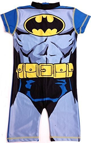 Childrens Batman Swimsuit Official DC Comics Boys Girls Swimming Costume UV Sun Protection 50+ (Age 2-3 Years, Batman)