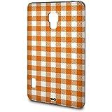 Handyschale Handycase für LG Optimus L7 II P710 veredelt mit YOUNiiK Styling Skin - Vichy Karo Orange
