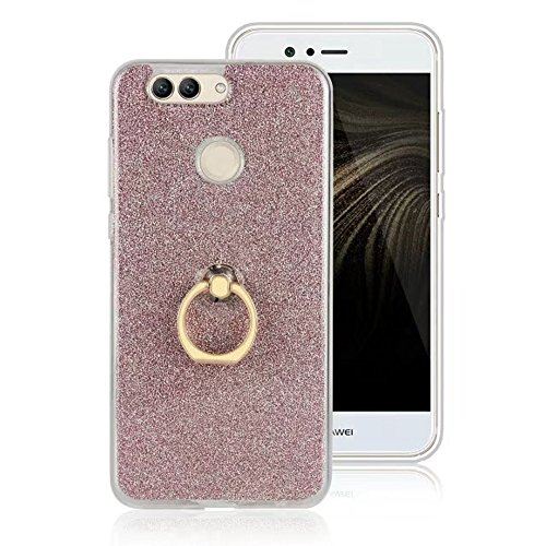 EKINHUI Case Cover Soft Flexible TPU Back Cover Case Shockproof Schutzhülle mit Bling Glitter Sparkles und Kickstand für Huawei Nova 2 Plus ( Color : Pink ) Pink