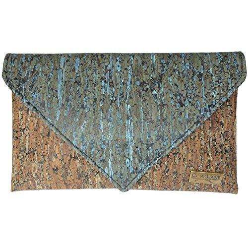 CorkLane Damen Handtasche Kork Abendtasche Envelope Clutch Korkleder vegan aus Portugal Braun und Türkis-Blau - 4