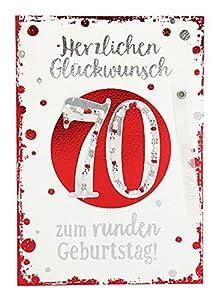 Depesche 3003.010Tarjeta de felicitación con Ornamento, 70º cumpleaños