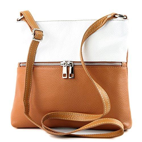 modamoda de -. Sac en cuir ital sac à bandoulière croisé dames sac de messager en cuir T144, Color:Camel / White