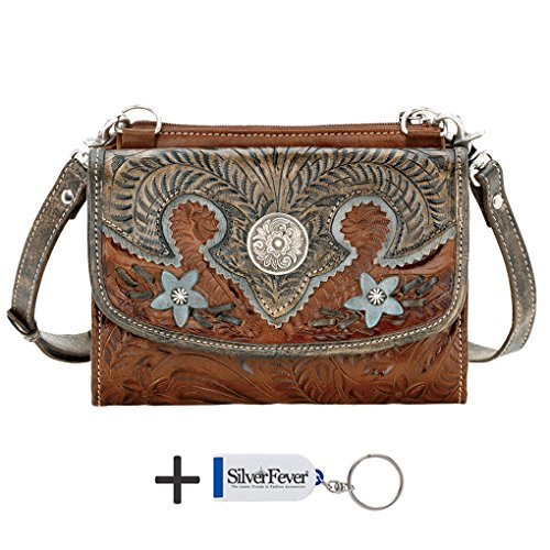 American West - Borsa a tracolla donna Antique Brown/ Distressed Charcoal Brown/ Sky Blue