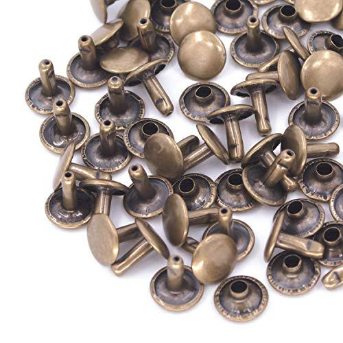 Trimming Shop Doppel Cap Nieten, Tubular Metallbolzen für Kleidung Reparatur und Austausch, Nähen, Leder Crafting, Verschönern, 15mm x 13.5mm, Bronze, 100 Sets Double Stud Belt