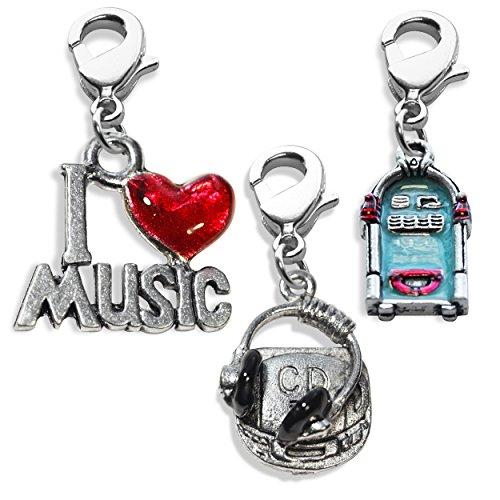 Whimsical regali musica fascino 3PK Bundle (jukebox, i Love Music, lettore CD e cuffie), cod. WCB-Music 3pk Silver