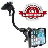 Prithvi™ Car Mount Adjustable Car Phone Holder Universal Long Arm, Windshield for Smartphones - Black