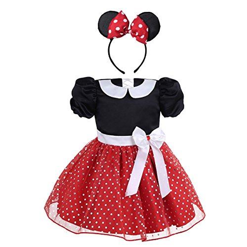 iiniim Baby Mädchen Kleid Festlich Kleid Prinzessin Polka Dots Kleid Halloween Weihnachten Fasching Partykleid Ballkleid Gr.74-104 Rot 80-86/12-18 Monate (Halloween-kostüme Monate 12-18)