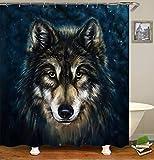 chenyuuu Handgezeichnete Wind Wolf Süß Und Schön Duschvorhang, Wasserdicht, Schnell Trocknend, Lichtecht, Leicht Zu Reinigen, 12 Haken. 180X180Cm
