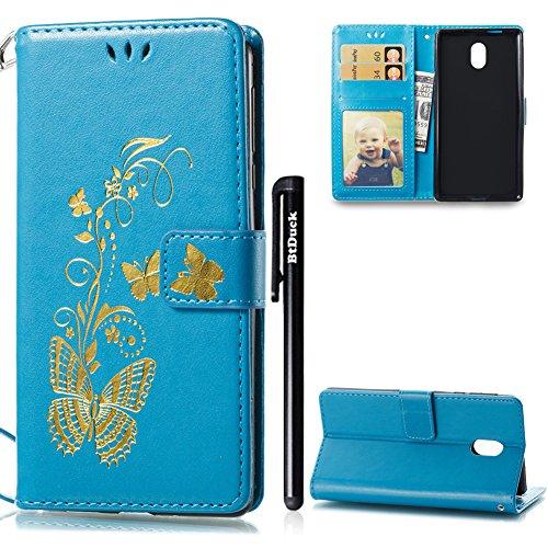 Hülle für Nokia 3,Flip Case für Nokia 3,BtDuck PU Leder Gold Schmetterling Ultra Slim Tasche Brieftasche Dünn Weich Tasche Magnetverschluss Kartenfach Weich Silikon Back Cover Handyhülle Nokia 3 Blau