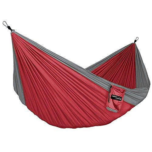 Hamac Parachute Simple en Nylon Ultraléger Portable Native Spring pour Voyage et Camping - Rouge & Anthracite
