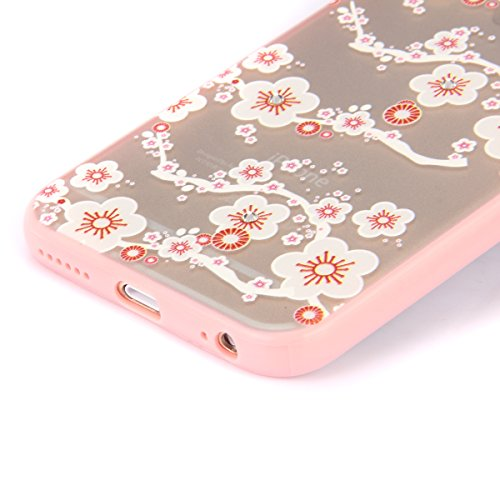 SainCat Coque Housse iPhone 6 Plus, Coque Silicone Etui Housse, iPhone 6s Plus Silicone Case Soft Gel Cover Anti-Scratch Transparent Case TPU Cover,Fonction Support Protection Complète Magnétique Shel fleurs blanches # 1