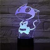 LED Touch Control Lampada da notte portatile colorata7 colori 3D Usb visivo Cartoon Cat Modellazione Led Fata Lampara Lampada da scrivania per arredamento da ufficio Regalo di festa per bambini Lu