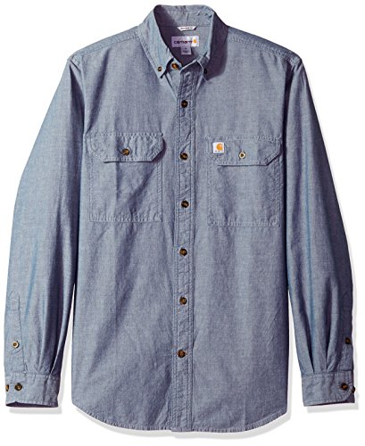 Kragen-denim-hemd (Carhartt Fort leichtes Chambray-Hemd S202, mit Knopfleiste, lockere Passform, langärmelig, Medium, Denim Blue Chambray, 1)
