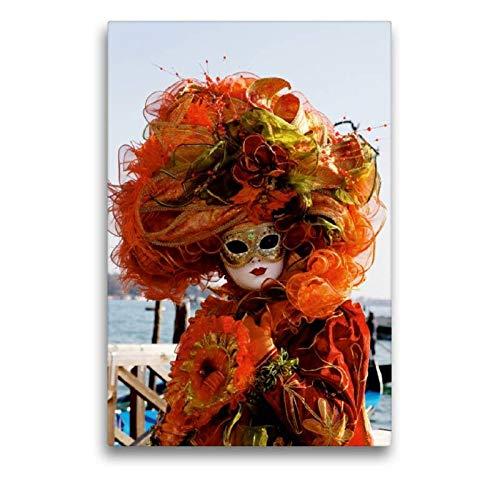 Calvendo Premium Textil-Leinwand 50 cm x 75 cm hoch, EIN Motiv aus dem Kalender Karneval in Venedig - Phantasievolle Masken | Wandbild, Bild auf Keilrahmen. Leinwand, Leinwanddruck Orte - Venezia Carnevale Kostüm