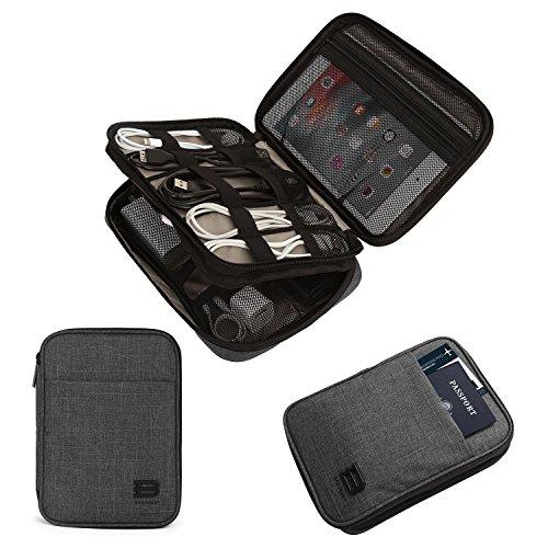 BAGSMART Elektronik Tasche, Doppelte Schichte Elektronische Tasche Reise für iPad Mini, Kabel, Ladegerät,Adapter, Powerbank, USB-Sticks, SD Karten (Schwarz)