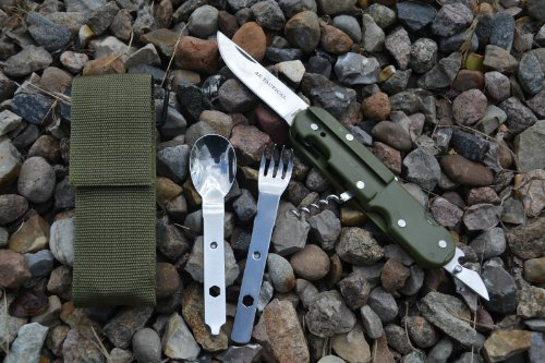 BW BUNDESWEHR OUTDOOR CAMPEGGIO POSATE ALL'OVILE CON CUSTODIA IN NYLON