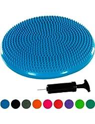 MOVIT® Balle-coussin »DYNAMIC SEAT« avec pompe sans phtalate Coussin ballon d'assise por pilates, yoga, coussin bourrelet Coussin D'équilibre 33cm couleur bleu