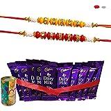 Maalpani Rakhi Gift Set Of 2 Designer Rakhis And Chocolates - Rakshabandhan Sweet Gifts For Brother