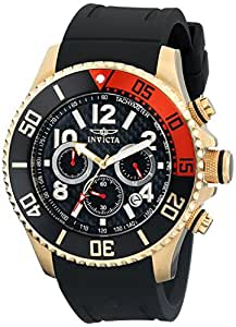 Invicta Men's Quartz Watch with Black Dial Chronograph Display and Black PU Strap 13729