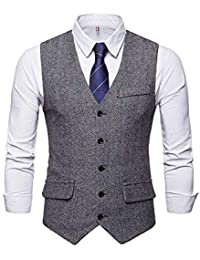 49c066dbeb1ac Bmeigo Hommes Tweed Gilet Veste de Costume Col V sans Manche Slim Fit  Business Formel Vintage