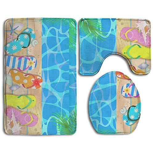 Wooden Board with Starfish and Flip Flop Bath Mat,Bathroom Carpet Rug,Non-Slip 3 Piece Bathroom Mat Set Navy Clara Slip