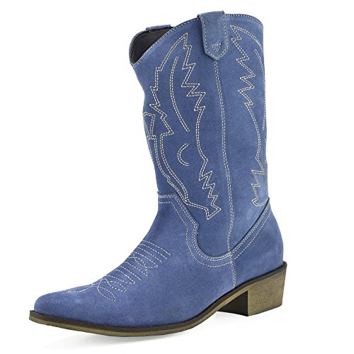 Kick Footwear Damen Western Leder Cowboy Stiefel Spitz Zehen Damen Breite Kalb Stiefel - UK 7/EU 40, Blue Suede (Suede Boot Blue)