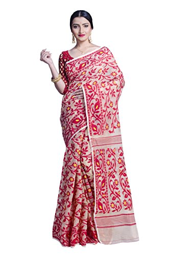 Upama CreamyWhite & Red Handloom Jamdani Saree